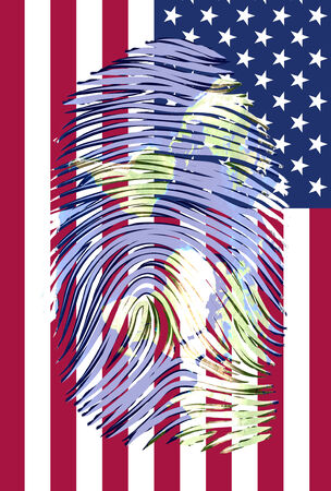 World Map finger print with US flag photo