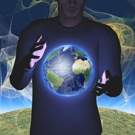 Earth hovers between mans hands 免版税图像