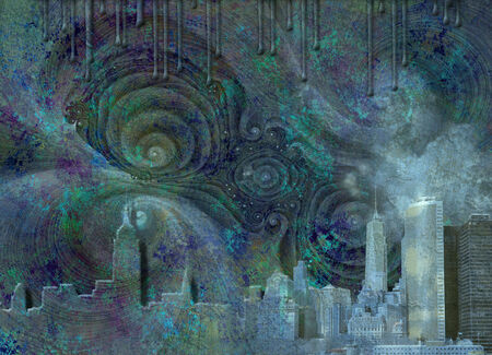 Fantasy NYC Skyline Stock Photo