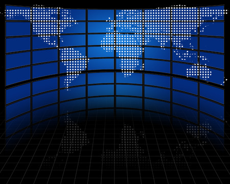 hdtv: Screens with projected map of earth Stock Photo