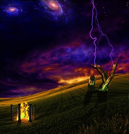 jolt: Lighting crashes down in surreal landscape
