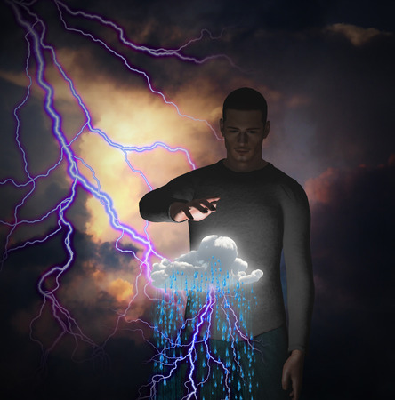 angry sky: Man with power over raincloud and lightning