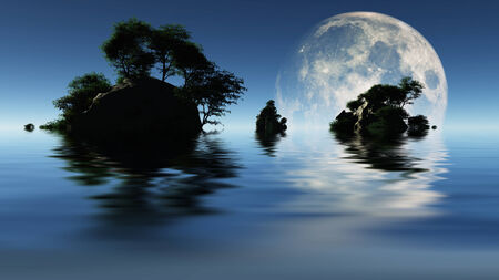 islets: Large moon and islets Stock Photo