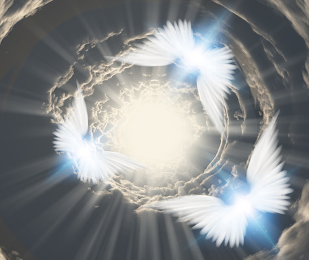 protection of the bible: Angels in tunnel of clouds