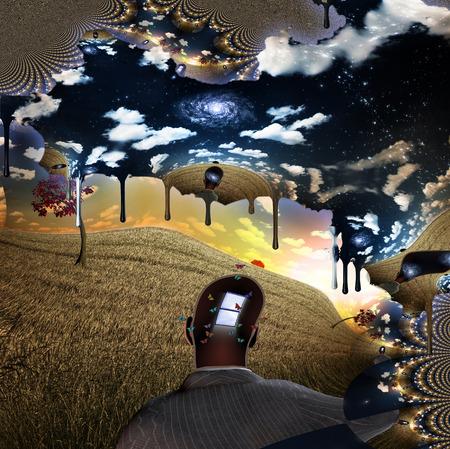 Melting cloud window man photo