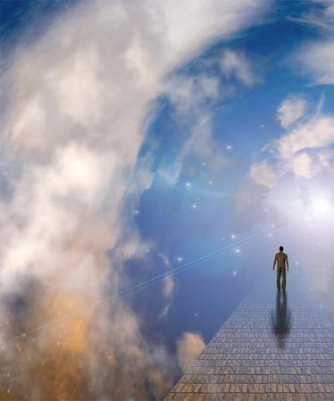 cielo: Figura en el camino brumoso