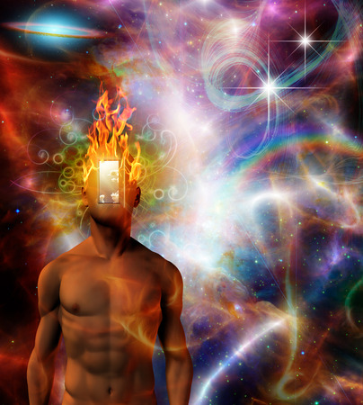 concept magical universe: Burning mind in cosmic space