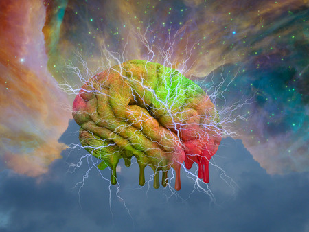 brain mysteries: Psychedelic mind melt Stock Photo