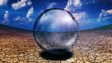 sphere: Crystal Sphere in desert depression Stock Photo
