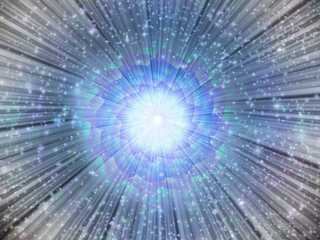 the energy center: Light burst with stars Stock Photo