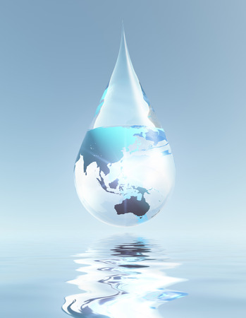 reflection of life: Austrailia and Asia droplet Stock Photo