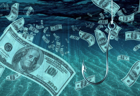 One Hundred Dollar Bill on Fish Hook photo