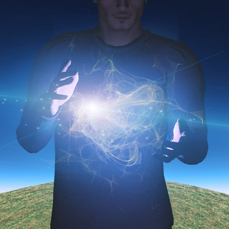 Man manipulates energy or matter 스톡 콘텐츠
