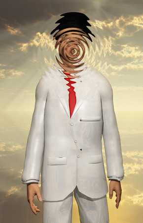 unreal unknown: Man in white Suit Face Obscured
