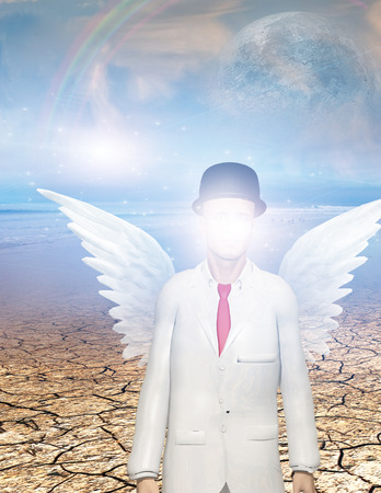 obscured: Winged figure with obscured face in surreal landscape Stock Photo