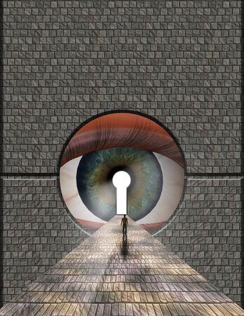 Man ventures toward large eye keyhole