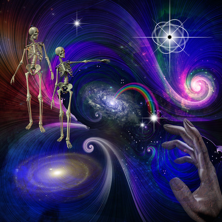 paganism: Skeletal Figures in Cosmos Stock Photo