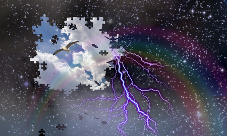 jig saw puzzle: Puzzle pieces fall from night sky revealing day with rainbow and Lightining Stock Photo