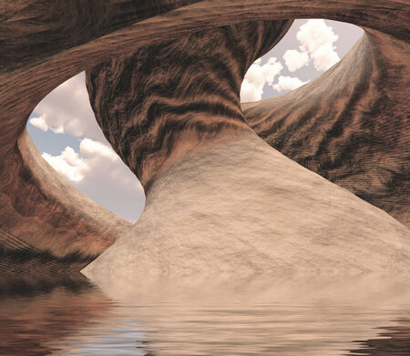 desolate: Carved Canyon Cavern of Stone Filled with Water