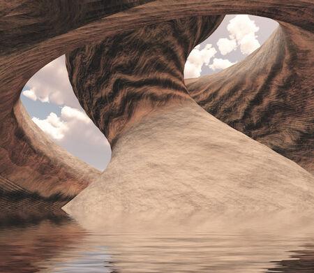 arcos de piedra: Tallado Cañón Caverna de Piedra lleno de agua Foto de archivo