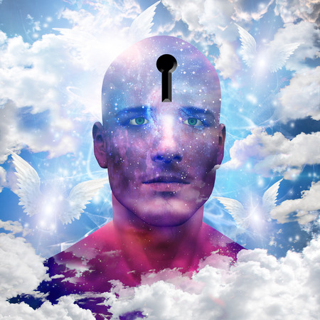 subconscious: Stars on man with keyhole in head Stock Photo