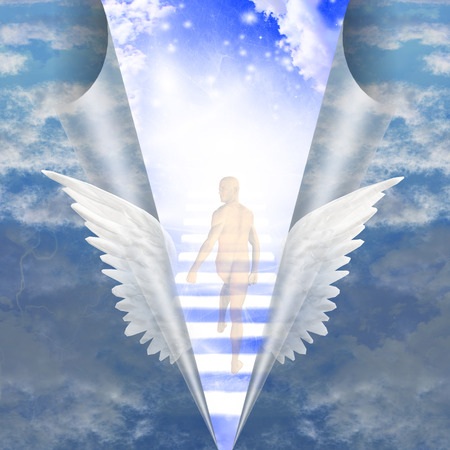 divinity: Man trvels up stairway into heavens Stock Photo