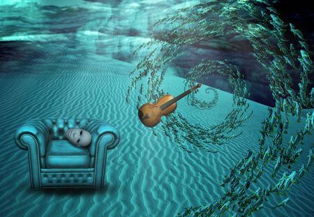 floating on water: Surreal Underwater Scene