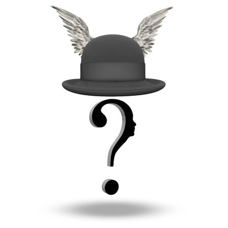 bowler hat: Question Face with WInged Bowler Hat Stock Photo