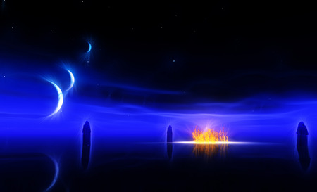 other world: Figures approach fire in the night on other world