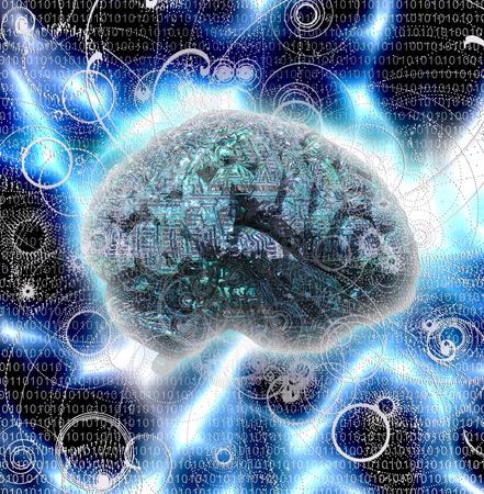 cybernetic: Electronic Brain Design Stock Photo