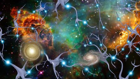 nervios: Las células del cerebro y del Espacio Profundo Foto de archivo