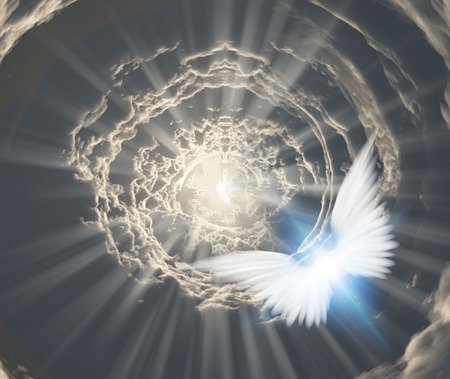 Angels in tunnel of clouds