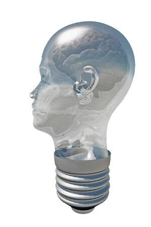 head light: Cerebro dentro Bombilla Cabeza humana Foto de archivo