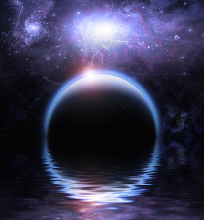 sci fi: Waters reflection and Planets Stock Photo
