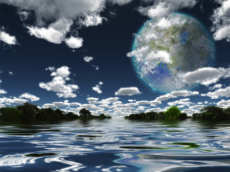 terra: Terraformed Moon from Earth or Exo Solar Planet Stock Photo