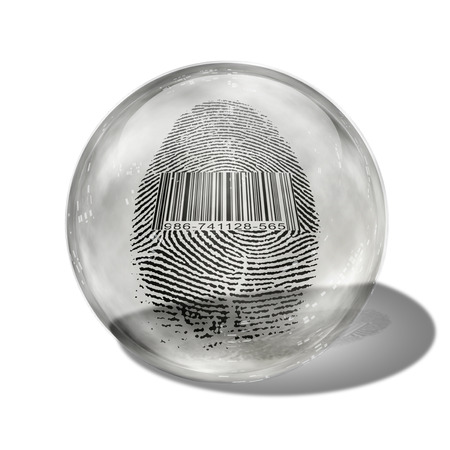 enclosed: Barcode Fingerprint Enclosed in Glass Stock Photo