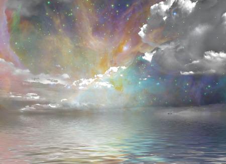 静かな海と星空 写真素材