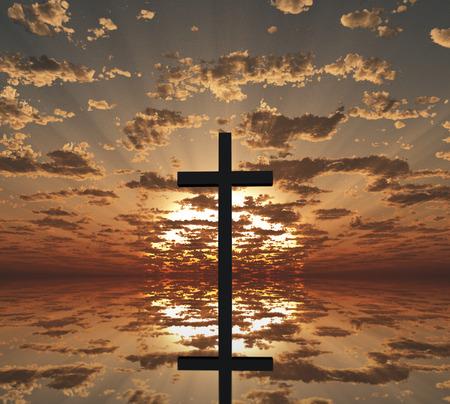 Západ slunce nebo východ slunce s křížem
