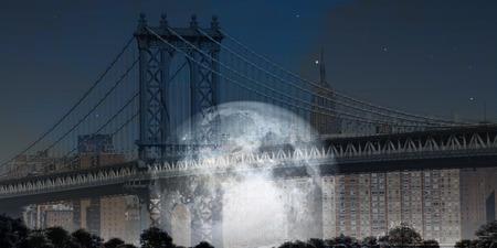 city view: Manhattan Bridge with Moon