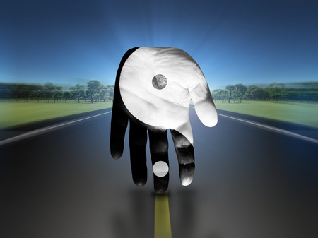 metaphysic: Yin Yang Hand Stock Photo