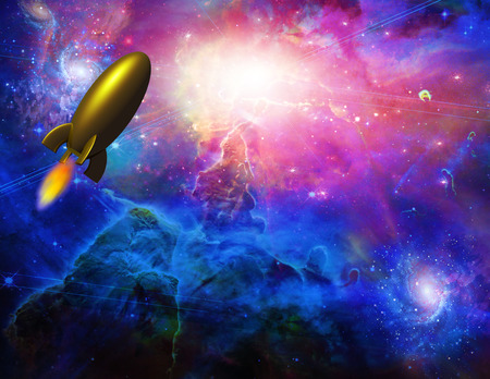 sci fi: Gold rocket travels through space