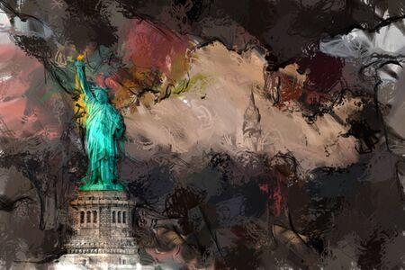 high rise buildings: Liberty Landscape Stock Photo