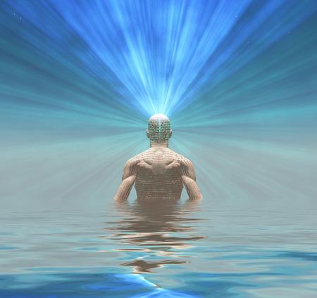 Man radiates light from mind photo