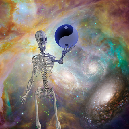 natural forces: Yin Yang Sphere held up by skeleton