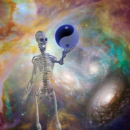 mind body soul: Yin Yang Sphere held up by skeleton