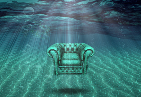 bottom: Arm chair floats above sea bottom
