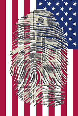 impression: US Dollars Finger Impression and American Flag Stock Photo