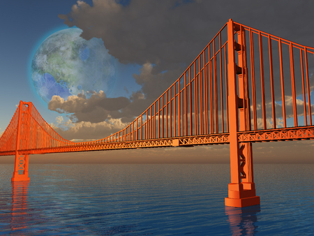 luna: Golden Gate Bridge with terraformed luna above Stock Photo