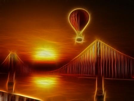 bay area: Hot Air Balloon and Golden Gate Bridge Illustration
