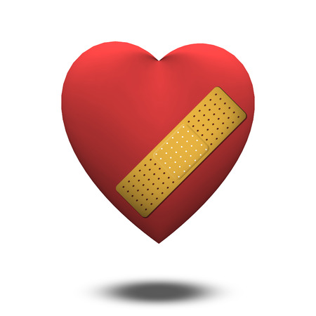 wounded heart: Classic Heart shape with bandaid